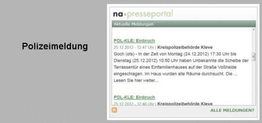 Einbruchschutz-Polizeimeldung